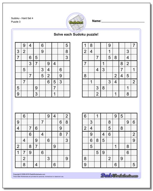 image relating to Hard Sudoku Puzzles Printable called Sudoku - Challenging