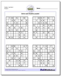 SudokuHard Set 4 Worksheet #Sudoku #Worksheet