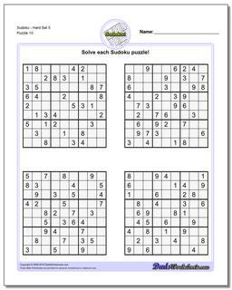 SudokuHard Set 5 Worksheet #Sudoku #Worksheet