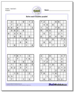 SudokuHard Set 5 Worksheet #Sudoku #Worksheet