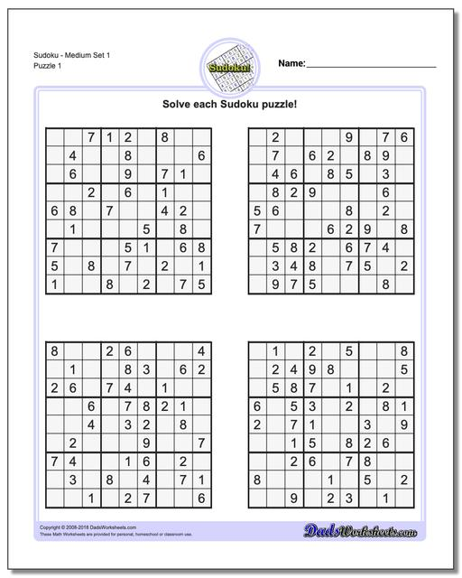 image about Medium Sudoku Printable called Sudoku - Medium