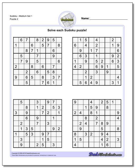 SudokuMedium Set 1 www.dadsworksheets.com/puzzles/sudoku.html Worksheet