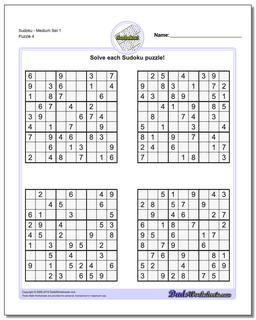SudokuMedium Set 1 Worksheet #Sudoku #Worksheet