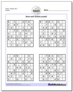 SudokuMedium Set 1 Worksheet