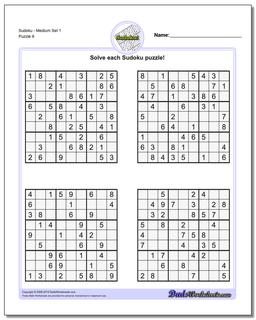 SudokuMedium Set 1 Worksheet #Sudoku #Worksheet