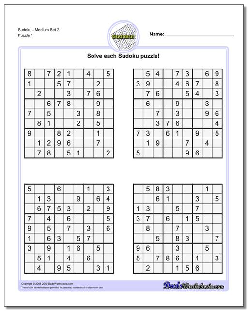 It is a graphic of Printable Sudoku Medium with regard to large print
