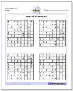 Printable Sudoku PuzzleMedium Set 2