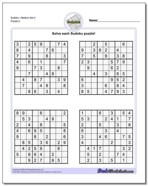 image about Sudoku Puzzles Printable Pdf titled Sudoku - Medium