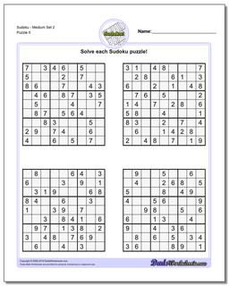 SudokuMedium Set 2 Worksheet #Sudoku #Worksheet