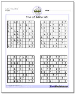 SudokuMedium Set 2 Worksheet #Sudoku #Worksheet
