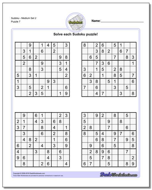 SudokuMedium Set 2 Worksheet