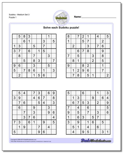 image regarding Printable Sudoku Medium identify Sudoku - Medium