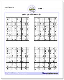 SudokuMedium Set 3 Worksheet #Sudoku #Worksheet