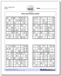 SudokuMedium Set 3 Worksheet #Sudoku #Worksheet