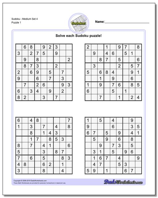 graphic about Medium Sudoku Printable titled Sudoku - Medium