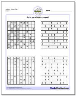 Printable Sudoku PuzzleMedium Set 4