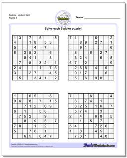 SudokuMedium Set 4 Worksheet #Sudoku #Worksheet