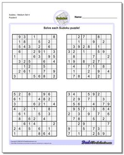 SudokuMedium Set 4 Worksheet #Sudoku #Worksheet