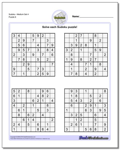 graphic about Printable Sudoku 6 Per Page named Sudoku - Medium