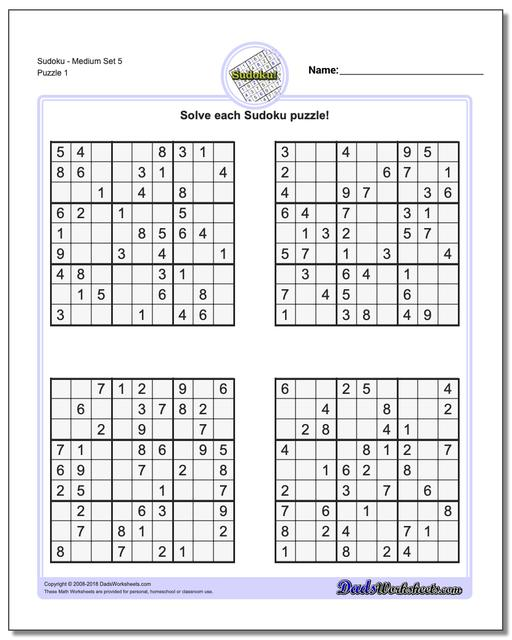 image relating to Medium Sudoku Printable identify Sudoku - Medium