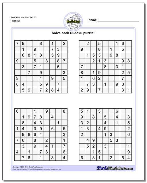 SudokuMedium Set 5 www.dadsworksheets.com/puzzles/sudoku.html Worksheet