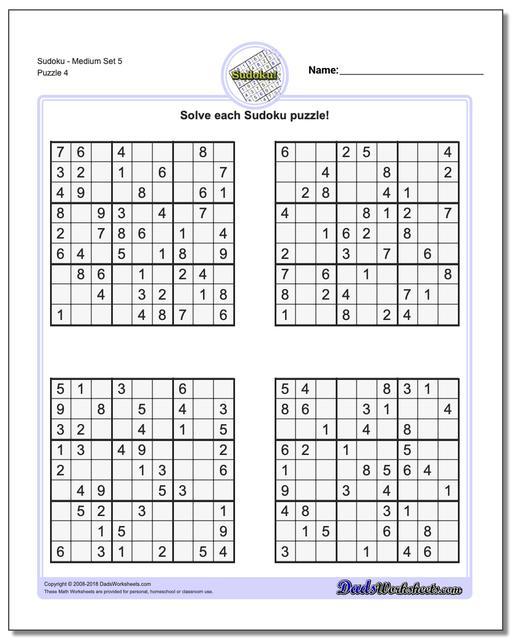 SudokuMedium Set 5 Worksheet