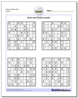 SudokuMedium Set 5 Worksheet #Sudoku #Worksheet