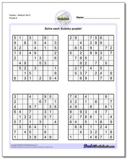 SudokuMedium Set 5 Worksheet #Sudoku #Worksheet