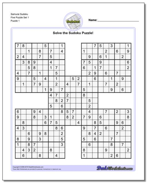 Sudoku Samurai Five Worksheets