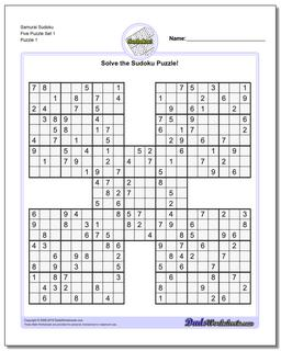 Samurai Sudoku Five Puzzle Set 1 #Sudoku #Worksheet