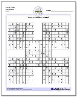 Samurai Sudoku Five Puzzle Set 1 #Sudoku #Worksheet