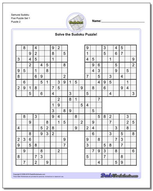 Samurai Sudoku Five Puzzle Set 1 www.dadsworksheets.com/puzzles/sudoku.html
