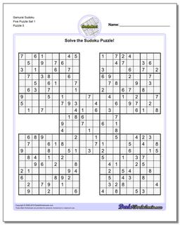 Samurai Sudoku Five Puzzle Set 1