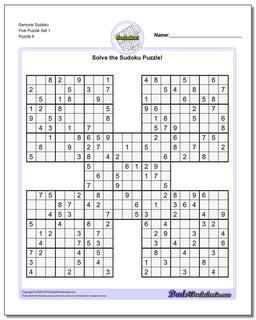 Samurai Sudoku Five Puzzle Set 1