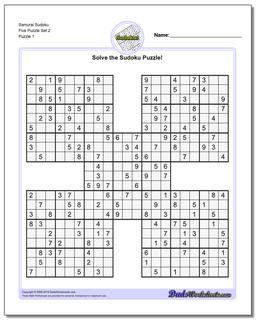 Printable Sudoku Puzzle Samurai Five Puzzle Set 2