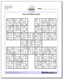 Samurai Sudoku Five Puzzle Set 2