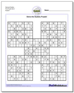 Samurai Sudoku Five Puzzle Set 2