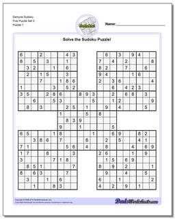 Printable Sudoku Puzzle Samurai Five Puzzle Set 3