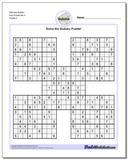 Samurai Sudoku Five Puzzle Set 3 www.dadsworksheets.com/puzzles/sudoku.html
