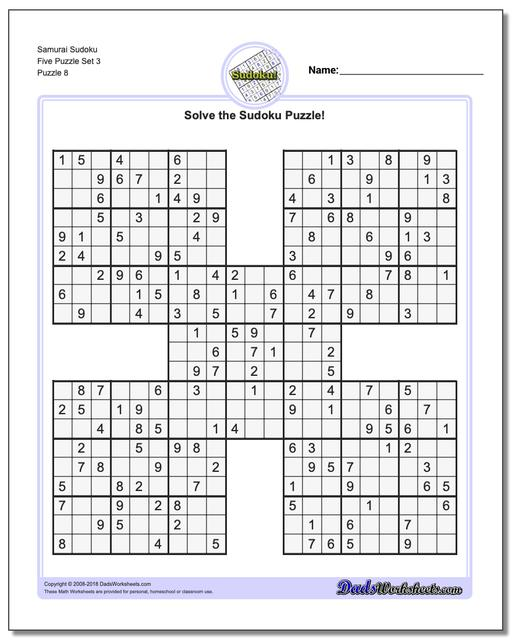 Samurai Sudoku Five Puzzle Set 3