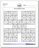 Samurai Sudoku Five Puzzle Set 4 www.dadsworksheets.com/puzzles/sudoku.html