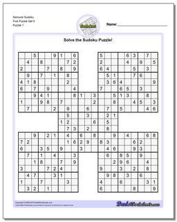 Printable Sudoku Puzzle Samurai Five Puzzle Set 5