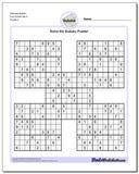 Samurai Sudoku Five Puzzle Set 5 www.dadsworksheets.com/puzzles/sudoku.html