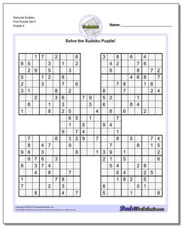 Samurai Sudoku Five Puzzle Set 5 #Sudoku #Worksheet