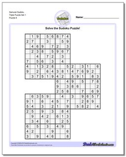 Samurai Sudoku Triple Puzzle Set 1 #Sudoku #Worksheet