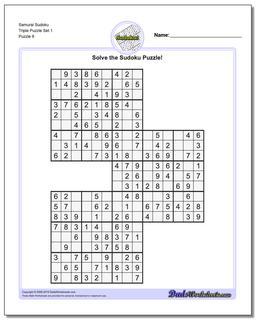 Samurai Sudoku Triple Puzzle Set 1 #Sudoku #Worksheet