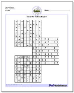 Samurai Sudoku Triple Puzzle Set 2 #Sudoku #Worksheet