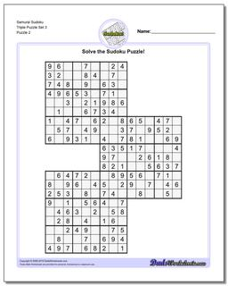 Samurai Sudoku Triple Puzzle Set 3 #Sudoku #Worksheet