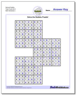 Samurai Sudoku Triple Puzzle Set 4 #Sudoku #Worksheet
