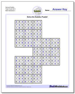 Samurai Sudoku Triple Puzzle Set 4 #Sudoku #Worksheet